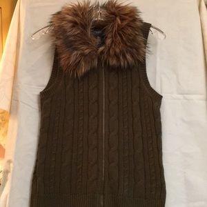 FauxFur Trimmed Zip Front Chaps SwEater Vest Sz S